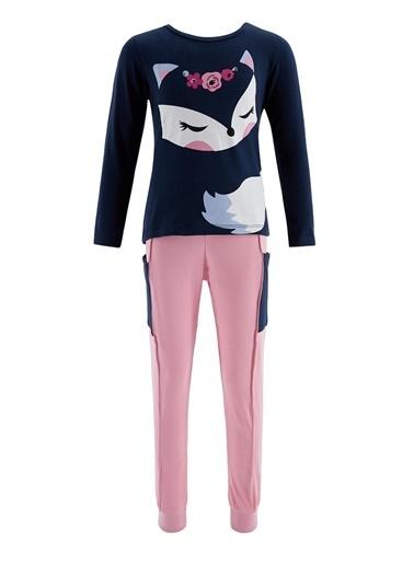 Denokids Cute Fox Kız Pantolon Takım Pembe